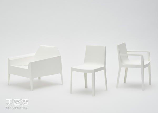 手工折纸椅子图片 分别有单人椅 扶手椅和沙发图片