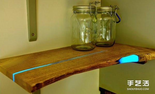 裂开的木板别丢掉 利用树脂改造成时尚家具 -  www.shouyihuo.com