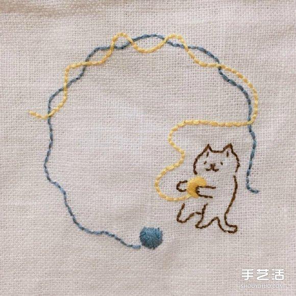 治愈系猫咪刺绣图片 简单的线条让人感觉温暖 -  www.shouyihuo.com