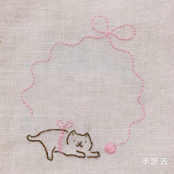 治愈系猫咪刺绣图片 简单的线条让人感觉温暖