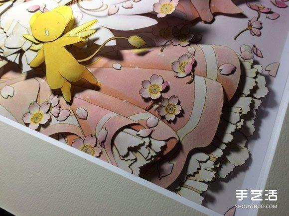 """经典动漫""""魔卡少女樱""""库洛牌纸雕作品图片 -  www.shouyihuo.com"""