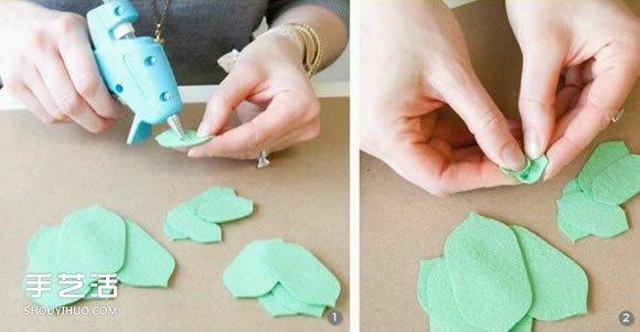 不织布玫瑰花教程 手工布艺玫瑰花的做法图解