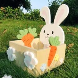 可爱兔子木板收纳盒DIY 卡通木制收纳盒制