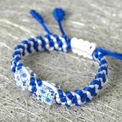 青花瓷手链的编织方法 DIY青花瓷手链的编法