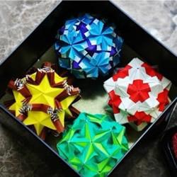 折纸花球作品图片 配漂亮包装盒变身超赞礼物