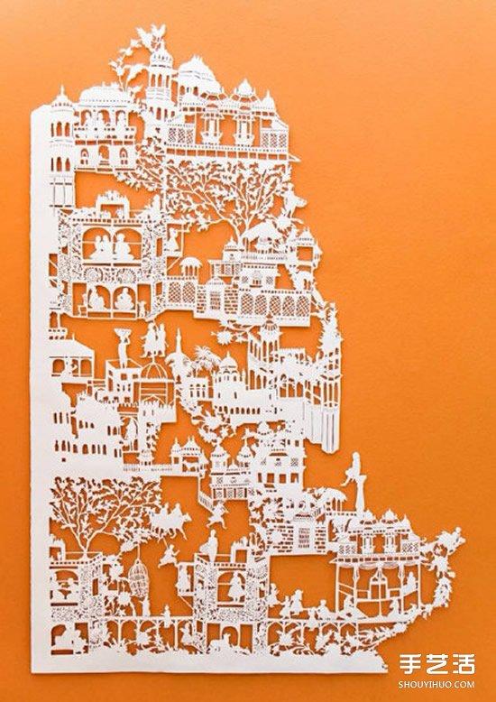 前後兩層的平面紙雕作品 DIY出更生動的圖案