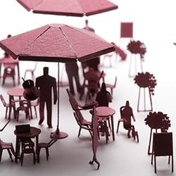 彩色卡纸雕琢成的生活场景 大师级纸模型作品