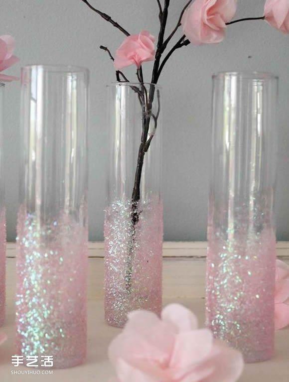 用闪粉改造玻璃花瓶的手工小制作图解 -DIY手工制作大全 手艺活网