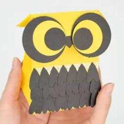 猫头鹰纸袋制作方法 简单手工纸袋折纸教