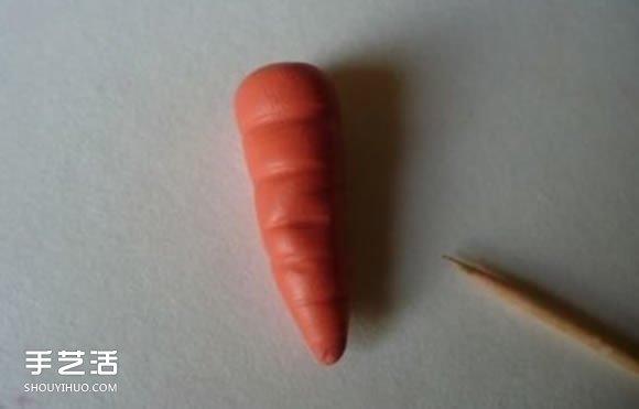 超輕粘土胡蘿蔔製作 手工DIY粘土胡蘿蔔圖解