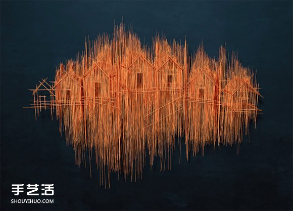 这不是素描 钢筋跟钢琴弦编织而成的雕塑作品 -  www.shouyihuo.com
