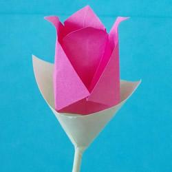 简易玫瑰花折纸步骤 儿童玫瑰花的折法图片