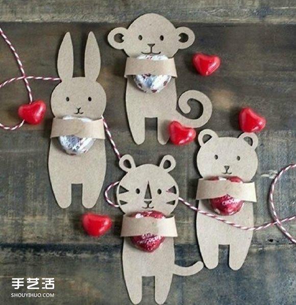 幼兒剪紙動物糖果包裝 硬紙片糖果包裝DIY製作