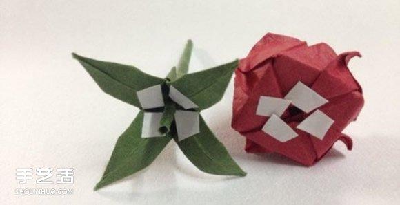 超详细川崎玫瑰的折法图解 包括花朵和花托(4)