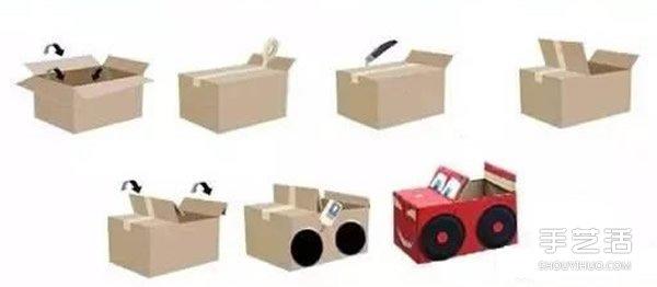 纸箱小汽车做法: 1、纸箱留出窄边的一侧,然后用宽胶带封口。 2、在封口面大约三分之二处切割开,翻出一块纸板。然后将两块翻出的纸板都对折。 3、用一次性餐盒制作小汽车的轮子和方向盘,记得先上色哦。 4、用白色卡纸制作小汽车的眼睛,嘴巴。然后再画出小汽车的仪表盘之类的,就可以了。