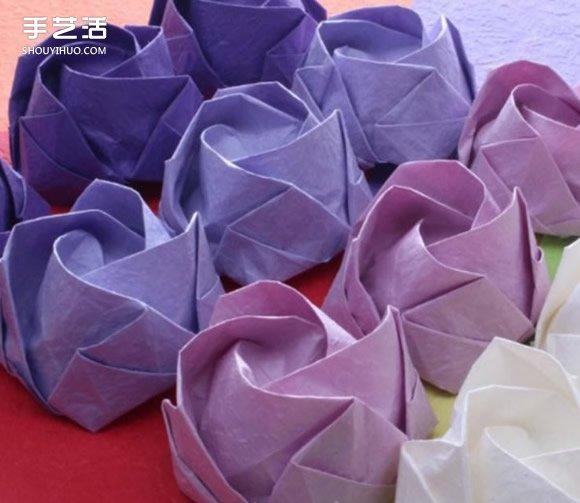 卷心玫瑰花折法图解 折纸含苞待放玫瑰的教程图片