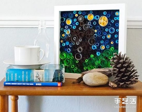 捲紙裝飾畫DIY製作教程 美麗星光璀璨的夜空