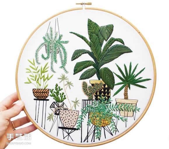 以綠色的盆栽當主題 一針一線勾勒出綠意盎然