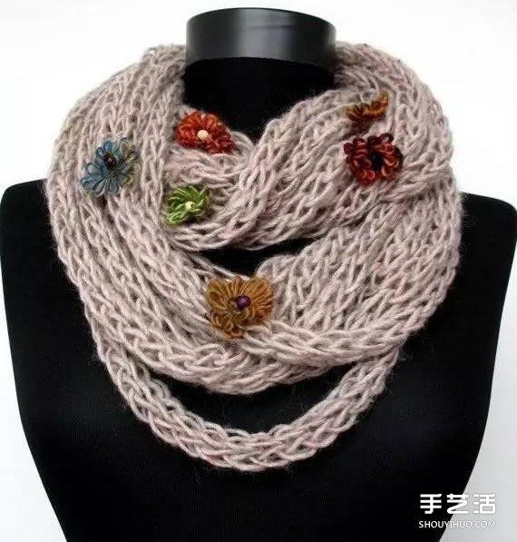 手織圍巾教程不用針 圍巾用手起針的方法圖解