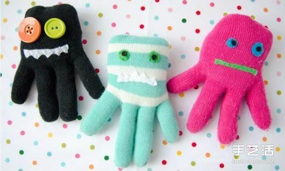 舊手套改造章魚布偶 手工布藝章魚的做法教程