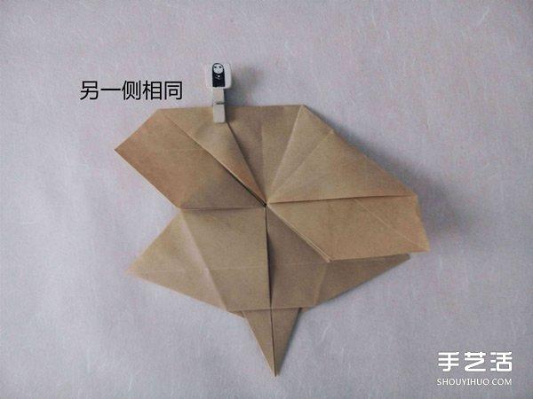 立体兔子的折法图解 复杂站立纸兔子折纸教程 - www.shouyihuo.com