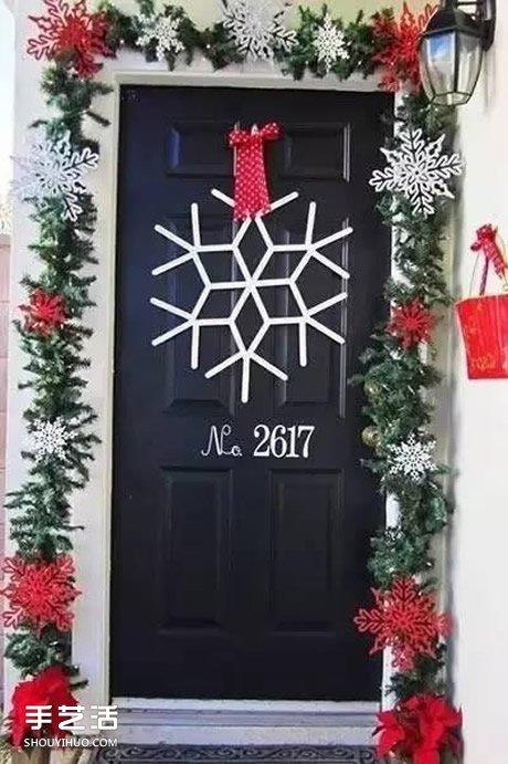 圣诞节幼儿园环境创设椅子和门的装饰图片 -  www.shouyihuo.com
