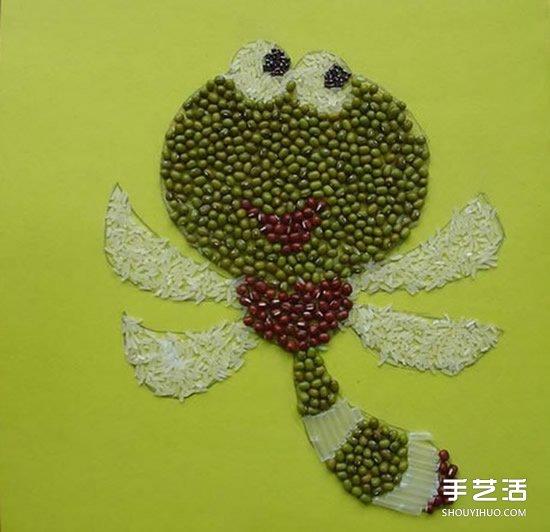 可爱的儿童豆子画图片 幼儿园豆子粘贴画作品