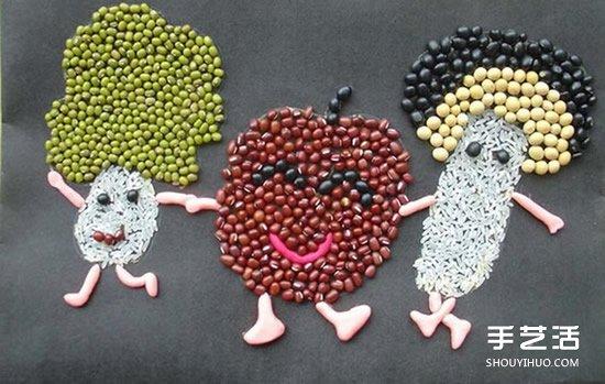 可爱的儿童豆子画图片 幼儿园豆子粘贴画作品 - www.shouyihuo.com