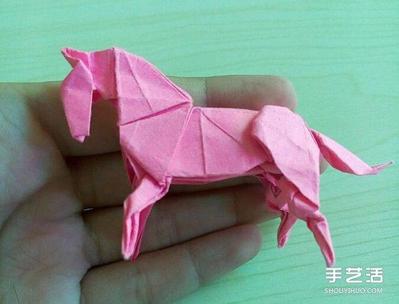小松英夫的马折纸图解 超详细立体马的折法教程(9)