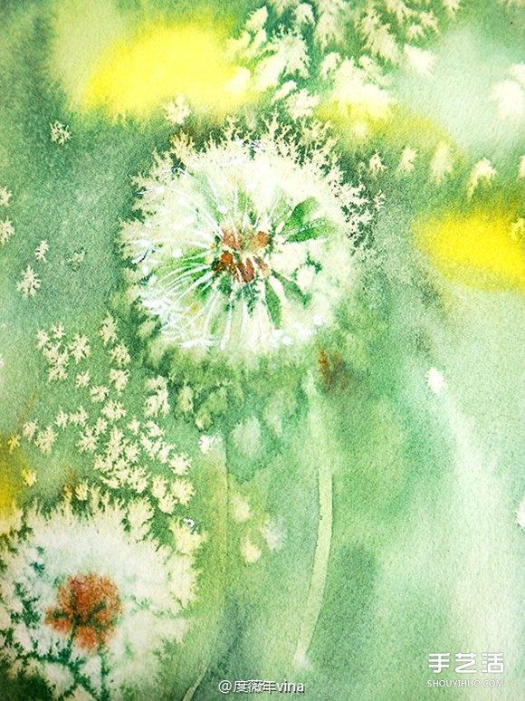 用盐和水彩画蒲公英的作品 带有油画般质感 -  www.shouyihuo.com