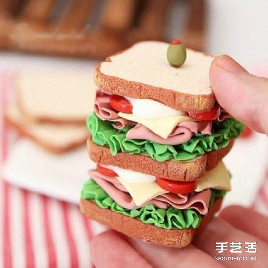 超轻粘土蛋糕图片 逼真的超轻粘土食物作品