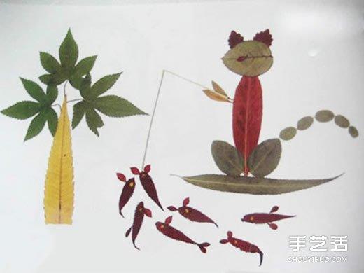 优秀树叶贴画欣赏 幼儿园树叶粘贴画获奖作品 -  www.shouyihuo.com