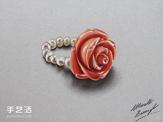 立體彩色鉛筆畫 畫出像真的一樣的水晶飾品