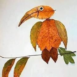 儿童树叶贴画作品图片 秋天树叶拼贴画大全
