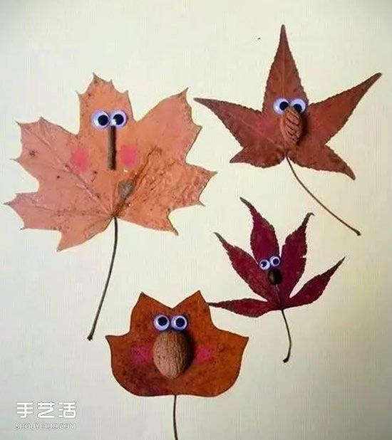 儿童树叶贴画作品图片 秋天树叶拼贴画大全(2)图片