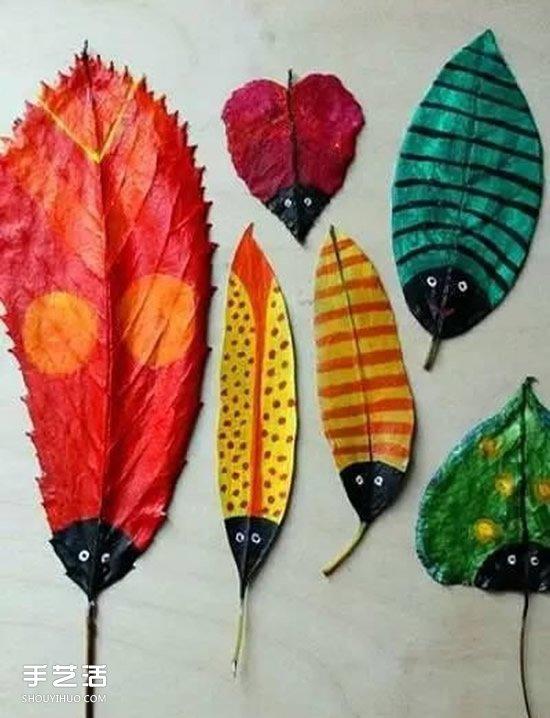 儿童树叶贴画作品图片 秋天树叶拼贴画大全(2)