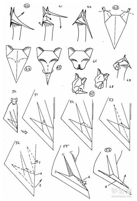 复杂猫咪的折纸图解 坐姿立体猫咪的折法步骤