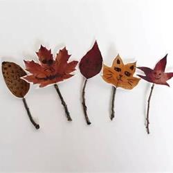 树叶画玩偶手工制作 简单叶子玩偶的做法图片