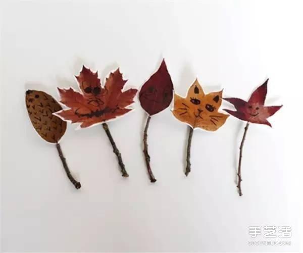 树叶画玩偶手工制作 简单叶子玩偶的做法图片 -  www.shouyihuo.com
