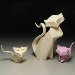 猫咪一家折纸步骤图 手工折立体猫咪的方法