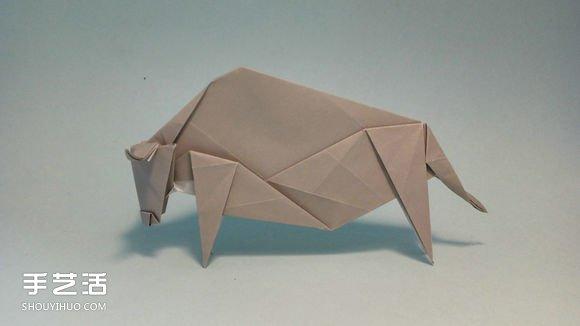 十二生肖牛的折法图解 手工折纸生肖牛步骤图图片