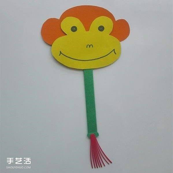 幼儿园猴子扇子制作方法 卡纸扇子手工制作图片