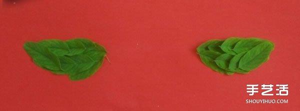 树叶贴画麻雀的方法 手工制作树叶麻雀的步骤 -  www.shouyihuo.com