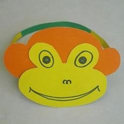 简单卡纸猴子头饰制作 幼儿猴子帽子的做