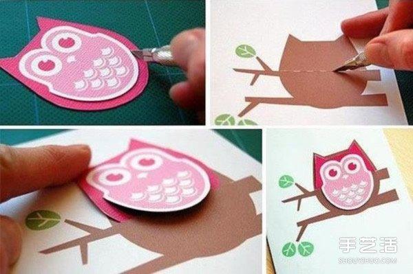 猫头鹰书签制作方法 简单猫头鹰卡纸书签DIY -  www.shouyihuo.com