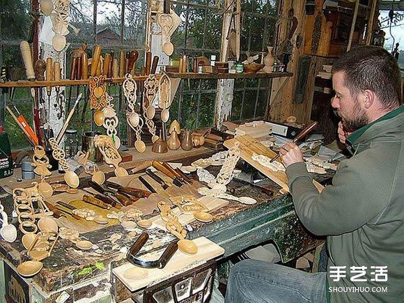 """爱""勺木雕艺术家Adam King 的雕刻作品 -  www.shouyihuo.com"