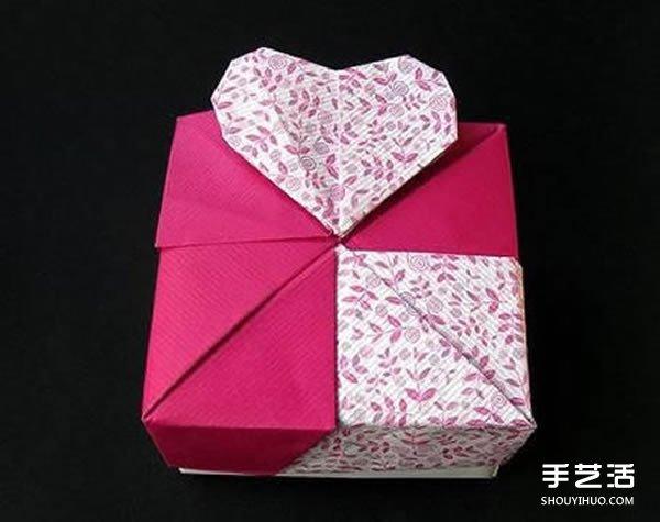 人节包装盒折纸图解 带爱心纸盒的折法步骤