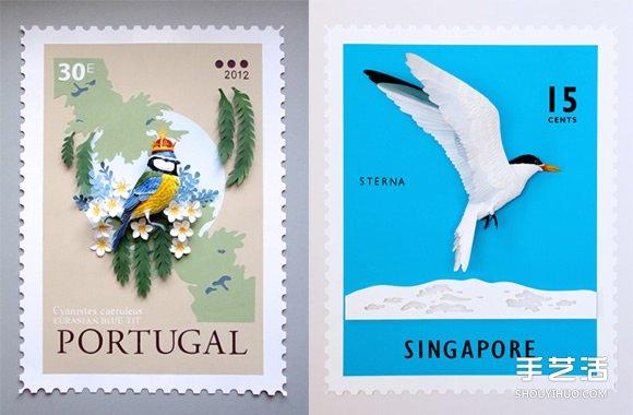 哥伦比亚艺术家的纸雕邮票作品 漂亮又别致! -  www.shouyihuo.com