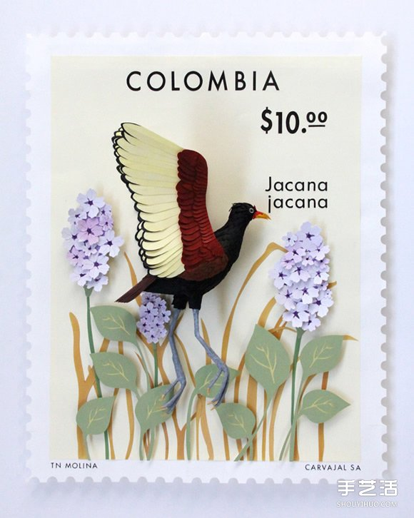 哥倫比亞藝術家的紙雕郵票作品 漂亮又別緻!