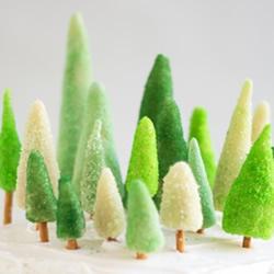 糖果圣诞树的做法 自制装饰生日蛋糕的迷你松树